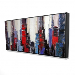 Framed 24 x 48 - 3D - Abstract red and blue buildings