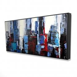 Framed 24 x 48 - 3D - Abstract blue city
