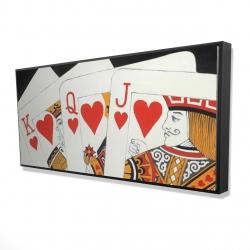 Framed 24 x 48 - 3D - Heart royal flush closeup
