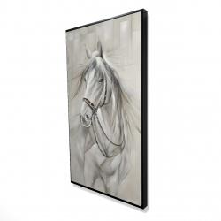 Framed 24 x 48 - 3D - Worthy white horse