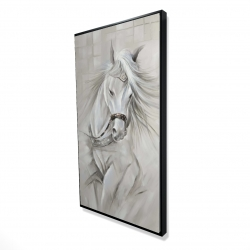 Framed 24 x 48 - 3D - White horse with his mane in the wind