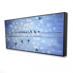 Framed 24 x 48 - 3D - Birds on a wire with a clear blue sky
