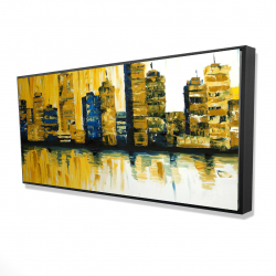 Framed 24 x 48 - 3D - Yellow abstract skyscraper 1