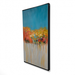 Framed 24 x 48 - 3D - Colorful abstract flowers on blue background