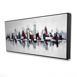 Framed 24 x 48 - 3D - Gray and red floating cityscape