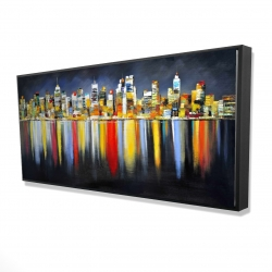 Framed 24 x 48 - 3D - Colorful reflection of a cityscape by night