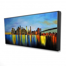 Framed 24 x 48 - 3D - City by night with a bridge
