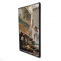 Framed 24 x 48 - 3D - Street view with yellow taxi