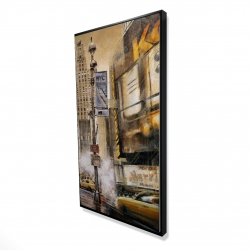 Framed 24 x 48 - 3D - Big city street by a cloudy day