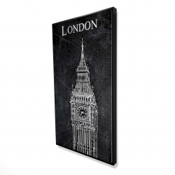 Framed 24 x 48 - 3D - Big ben sketch with a map in background