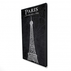 Framed 24 x 48 - 3D - Eiffel tower sketch with a map in background