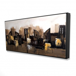 Framed 24 x 48 - 3D - Brown abstract cityscape