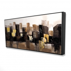 Framed 24 x 48 - 3D - Earthy tones abstract cityscape