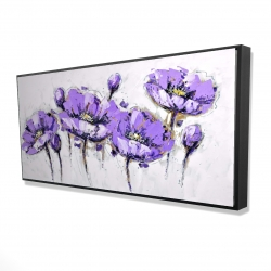 Framed 24 x 48 - 3D - Abstract purple flowers