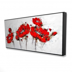 Framed 24 x 48 - 3D - Abstract poppy flowers
