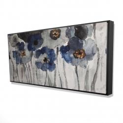 Framed 24 x 48 - 3D - Blue blurry flowers