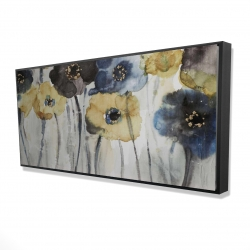 Framed 24 x 48 - 3D - Gray blue and yellow flowers