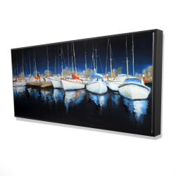 Framed 24 x 48 - 3D - Evening at the marina