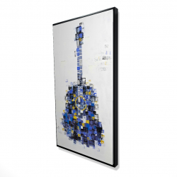 Framed 24 x 48 - 3D - Abstract guitar made of squares