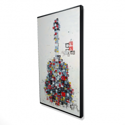 Framed 24 x 48 - 3D - Abstract guitar made of shapes