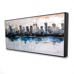 Framed 24 x 48 - 3D - Abstract city with reflection on water