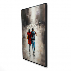 Framed 24 x 48 - 3D - Quiet walk in couple in the rain