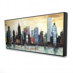 Framed 24 x 48 - 3D - Skyline on abstract cityscape