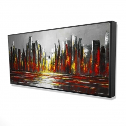 Framed 24 x 48 - 3D - Abstract red skyline