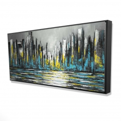 Framed 24 x 48 - 3D - Abstract blue skyline
