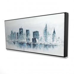 Framed 24 x 48 - 3D - City in blue colors