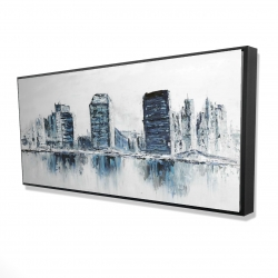 Framed 24 x 48 - 3D - Texturized blue colors cityscape