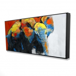 Framed 24 x 48 - 3D - Colorful abstract moving elephant