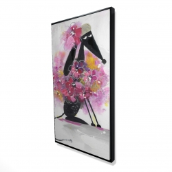 Framed 24 x 48 - 3D - Cartoon dog with pink flowers