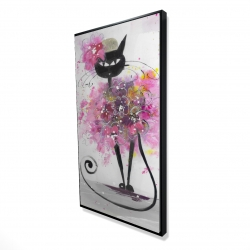 Framed 24 x 48 - 3D - Cartoon cat with pink flowers