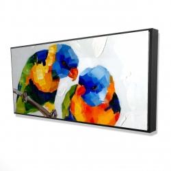 Framed 24 x 48 - 3D - Couple of parrots