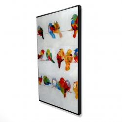 Framed 24 x 48 - 3D - A lot of colorful birds on a wire