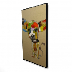 Framed 24 x 48 - 3D - Abstract colorful chihuahua