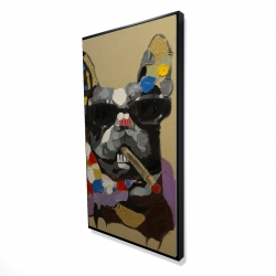 Framed 24 x 48 - 3D - Abstract smoking dog