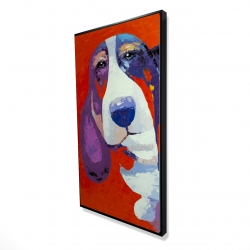 Framed 24 x 48 - 3D - Abstract colorful basset dog