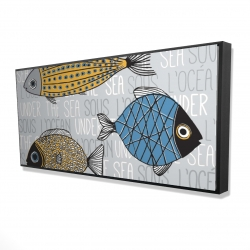 Framed 24 x 48 - 3D - Fishes' illustration