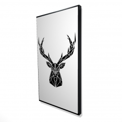 Framed 24 x 48 - 3D - Geometric deer head