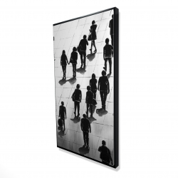 Framed 24 x 48 - 3D - Silhouettes of people on the street