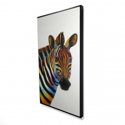 Framed 24 x 48 - 3D - Colorful profile view of a zebra