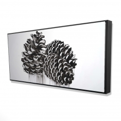 Framed 24 x 48 - 3D - Three small pine cones