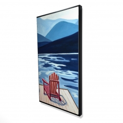 Framed 24 x 48 - 3D - Lake, dock, mountains & chairs