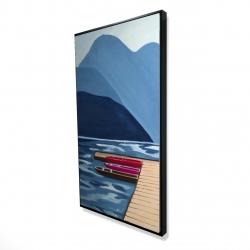 Framed 24 x 48 - 3D - Lake, quai & mountains