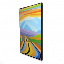 Framed 24 x 48 - 3D - Mountain road multicolored