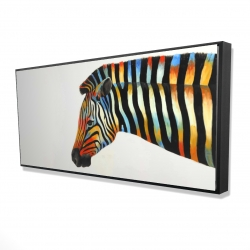 Framed 24 x 48 - 3D - Colorful zebra