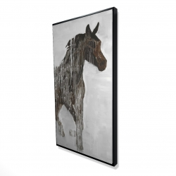 Framed 24 x 48 - 3D - Abstract brown horse