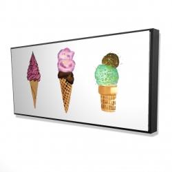 Framed 24 x 48 - 3D - Ice cream cones
